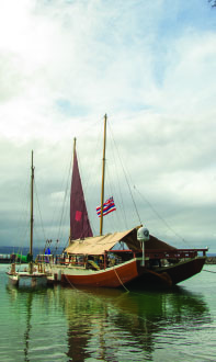 Hikianalia at Palekai, Hilo before departing for Tahiti their rendevous with Höküle'a. photo by T. Ilihia Gionson