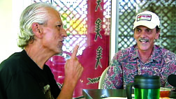 Best friends Nelson Makua and Randy Parker talking story. photo courtesy Big Island Video News