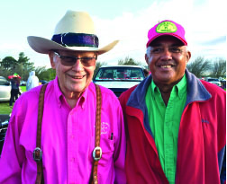 Monty Richards of Kahua Ranch with Godfrey Kainoa. photo courtesy of Amoo Ching Kainoa