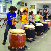 Students practicing at Puna Taiko. photo by Denise Laitinen