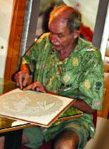 Dietrich cutting linoleum