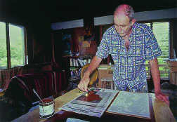Dietrich Varez spreading ink at his home studio