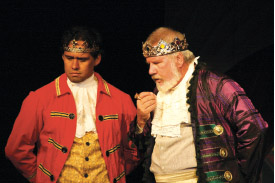 Pedro Ka'awaloa as the Prince and Dick Hershberger as the King in Cinderella (2012). photo courtesy KDEN