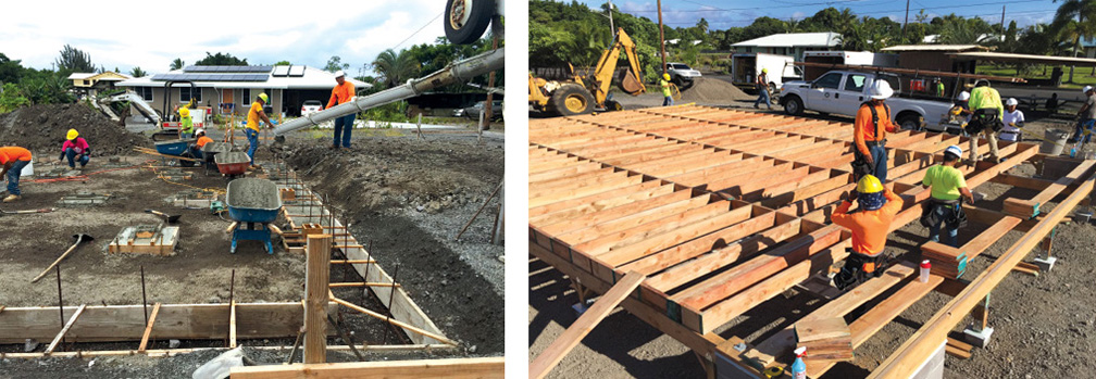 Hawai'i Community College students work on this year's model home on site in Keaukaha. photos courtesy Hawai'i Community College