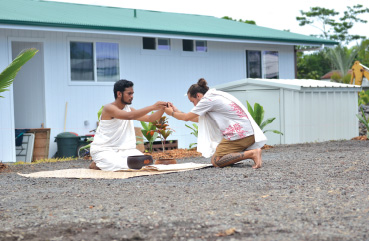 Students from Hawai'i Community College's Hawaiian studies program participated by conducting a blessing ceremony for the house, the new family, and the students who worked on the project. photo courtesy Hawai'i Community College