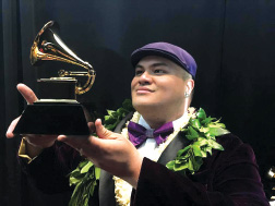 Kalani backstage after winning the Grammy for Best Regional Roots Album. photo courtesy Kalani Pe'a