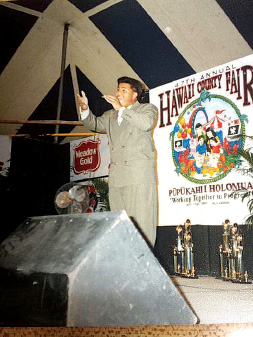 Kalani at one of his earliest public performances: the talent show at the Hawai'i County Fair. photo courtesy Kalani Pe'a