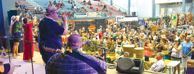 Kalani entertains his hometown crowd at the 2017 Merrie Monarch Invitational Hawaiian Arts Fair. photos by T. Ilihia Gionson