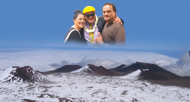 Kalani with his parents, Pua Leonard and Arthur Pe'a. photo courtesy Kalani Pe'a Poli'ahu's snow covers the many pu'u of Mauna Kea in 2005. photo by T. Ilihia Gionson