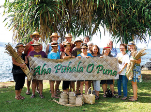 Current members of 'Aha Pühala O Puna gather at Lili'uokalani Gardens in Hilo.