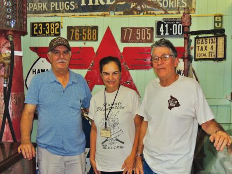 L-R: Wayne Subica, Donna Johnson, and Glenn Carvalho, the volunteers that share Hawai'i Island's plantation history at the museum. photo by Catherine Tarleton