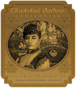 The official design for the Lili'uokalani Gardens Centennial celebration by local artist Nelson Makua depicts the queen in her namesake gardens. She passed away before the gardens were complete.