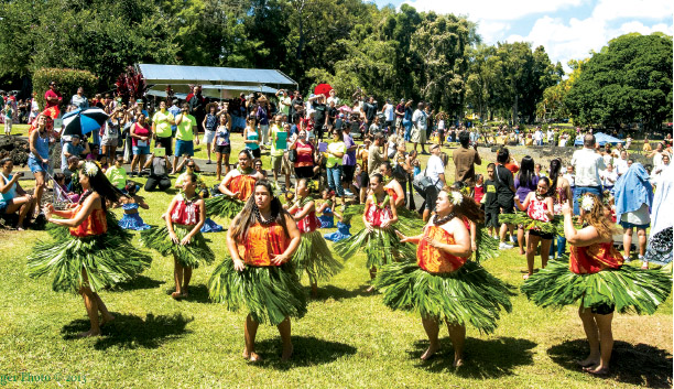 A past He Hali'a Aloha No Lili'uokalani Festival. A highlight of the annual festivities is the mass hula performance, where dancers are between festival-goers all around the gardens. photo courtesy Friends of Lili'uokalani Gardens