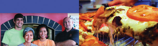 Big Island Pizza staff, from left to right: Tony Tafua, Grace Petralva, Jaime Hara and Jim King.