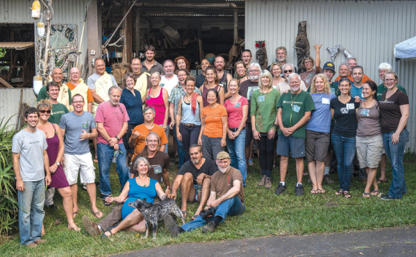 Artists participating in the 2016 Collaboration gather for a group photo in front of the main workshop. photo courtesy of Hawai'i Artist Collaboration