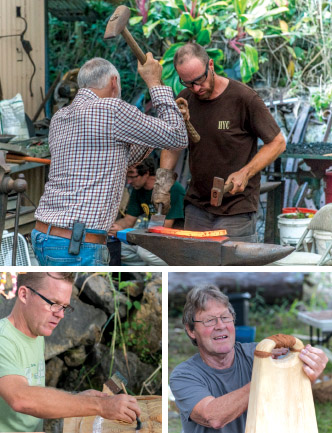 Top: Artist blacksmiths Henry Pomfret from England (left) and Ethan Froney from Waimea, Hawai'i Island. Lower left: Fine arts department head, Kona artist Alex Gupton. Lower right: Cordage and ipu gourd artist Gary Eoff. photos courtesy of Hawai'i Artist Collaboration