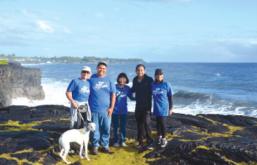 Team Sure Blue (Nancy Anderson, Shane Castillo, Susan Kaneshiro, Greggor Iligan, and Rose Perry) watched the sunrise at the shores of Hawaiian Paradise Park. photo courtesy of Lisa Cabalis, Blue Zones Project