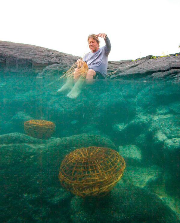 Gary weaving a fish trap. photo by Jack Wolford