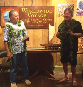 Pwo Navigator Kālepa Baybayan and Gary at the Volcano Art Center reception for the Worldwide Voyage exhibit. photo courtesy of Karen Eoff