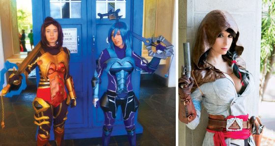 Left: Warming up for the Cosplay Contest 2015. Right: Professional cosplayer Riki Lecotey and HawaiiCon guest. photos courtesy of Tyler Murray