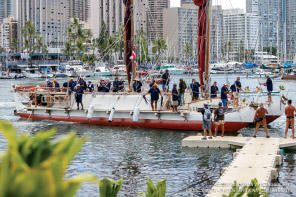 Hōkūle'a ties up at Magic Island after her historic three-year voyage.