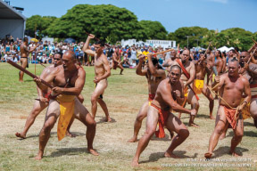 Men of Hale Mua participate in Kāli'i, a spear throwing challenge ritual used in ancient times.