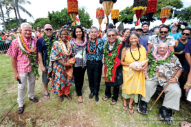 Left to right: Honolulu Mayor Kirk Caldwell, Bradford Nakamua, Mpho Tutu, Congressworman Tulsi Gabbard, Govenor David Ige, Danny Akaka, Anna Akaka, and Hector Busby.