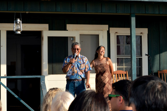 Danny and Anna Akaka talk story on the porch of the Eva Parker Woods Cottage. photo courtesy of Barbara Bach