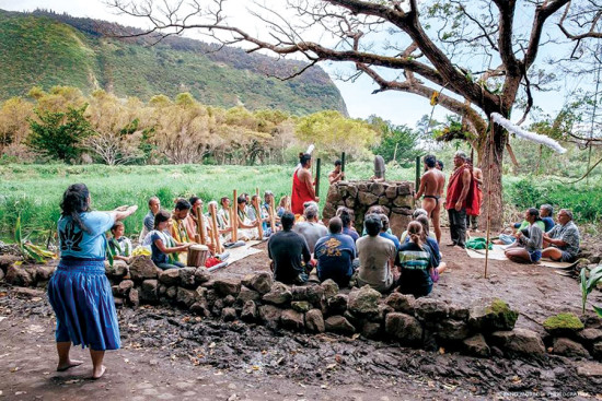 Dedication of the Kuahu A Kane Altar. photo courtesy of the Hawaiian Cultural Center of Hāmākua