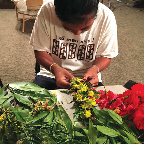 Making lei at the center. photo courtesy of the Hawaiian Cultural Center of Hāmākua