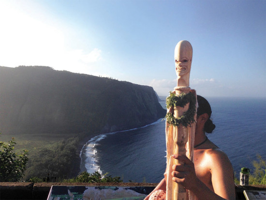 The Lono staff at the Waipi'o Valley lookout during the Aha Pule 'Āina Holo run. photo courtesy of the Hawaiian Cultural Center of Hāmākua