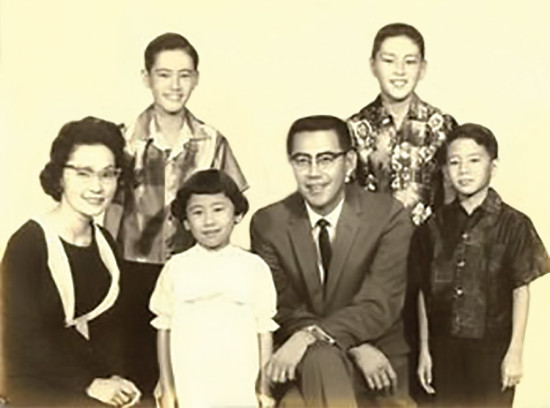 Matayoshi family: back row, sons Ron and Jerold; front row, Mary, daughter Kathryn, Herbert, and son Eric.