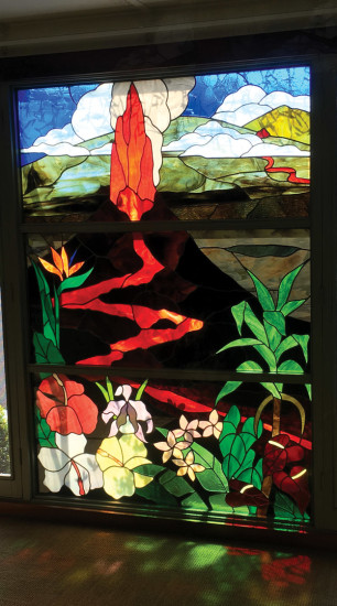 A stunning, stained glass volcano window in the entrance lobby. photo by Karen Valentine