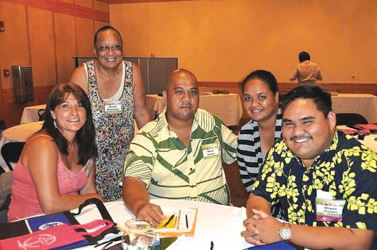(Left-right) Bonnie Gilles, Sharon Matsuyama, Glenn Kaiawe, Patricia Mejia, and Keoki Kïwaha as delegates representing Puka'ana at the 2016 'Aha Pae'āina in June 2016. (Photo by Hawai'i Conference UCC) photo courtesy of Puka'ana Church