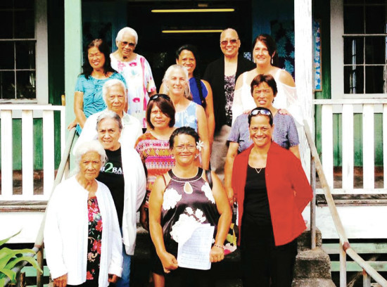 The mothers of Puka'ana Church posing for a photo in preparation for the church's Mother's Day-themed Hō'ike, March 2017. (Photo by Keoki Kïwaha) photo courtesy of Puka'ana Church