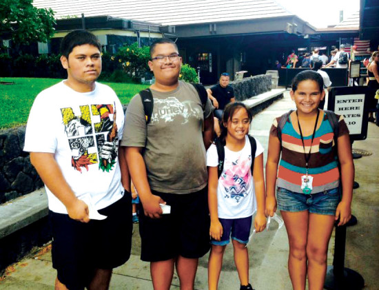Youth from Puka'ana Church at Kona International Airport waiting for their flight to O'ahu for the annual Fall Youth Camp sponsored by the Hawaii Conference UCC. (Photo by Glenn Kaiawe) photo courtesy of Puka'ana Church