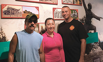 Clarence, Kareen and Kimo at Ft. Lewis Vietnam War exhibit.