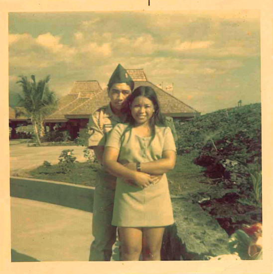 Clarence and Nellie at Kona Airport. They were married one week before he left for Vietnam.