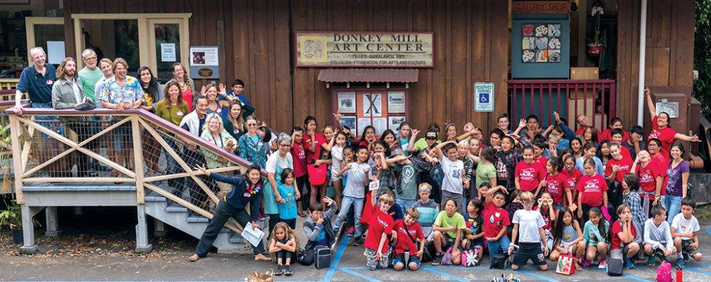 Hōlualoa Elementary School 5th graders celebrate after a fun day of art classes at Donkey Mill Art Center. photo courtesy of DMAC