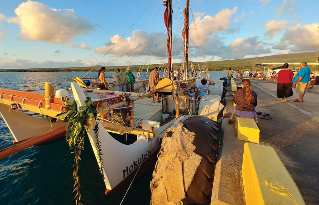 Nakua Konohia-Lind, who was elevated to captain for Hōkūle'a's Mahalo, Hawai'i Sail into Hāna, Maui. photo © 2017 by Kaipo Kiaha