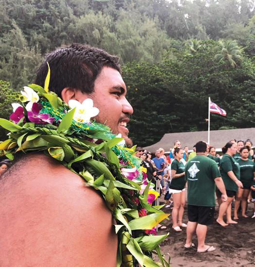 Hōkūle'a at Kaunakakai, Moloka'i during the Mahalo, Hawai'i Sail. photo © 2017 Polynesian Voyaging Society, by Todd Yamashita