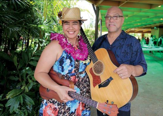 Kainani and Darryl Gonzales pose before stepping on stage to support Ke Akua Mana Church on Kaua'i. photo courtesy of Mike Teruya