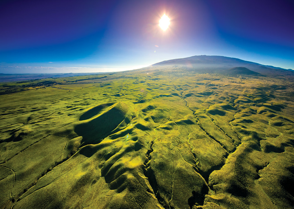 Rolling grassy hills on the western flank of Maunakea supply a large portion of the watershed and biodiverse terrain on Hawai'i Island. photo by Andrew Richard Hara
