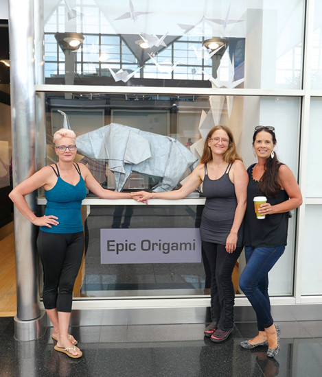 Left to Right: Jennifer Prater, Bonnie Cherni, and Tai King after completing the install at Denver International Airport. photo courtesy of Bonnie Cherni