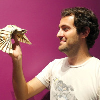 Julien Lozi with his eagle. photo courtesy of Bonnie Cherni