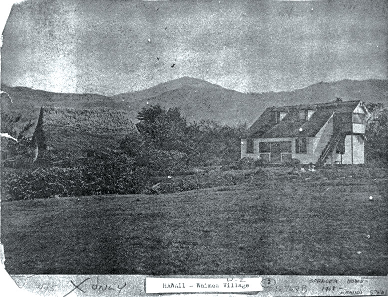 Photo of Spencer House circa 1877. Thatched hut to the left is now the site of a McDonalds.