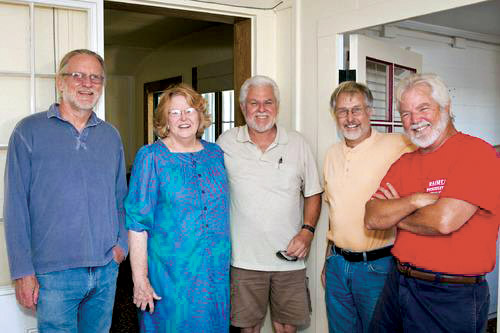 Community members involved in the Spencer house project, from left, Sherm Warner, Patti Cook, Bill Sanborn, Paul Johnston, and Bob Bonar. photo by Anna Pacheco to NHN