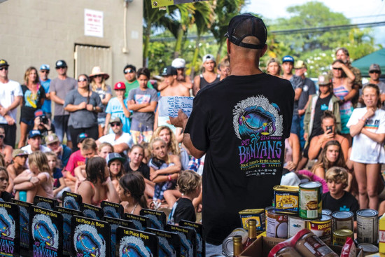 Uncle Shane talking to the crowd at the 2017 Keiki Classic. He has hosted this for over two decades and the vibes remain casual and community-based.